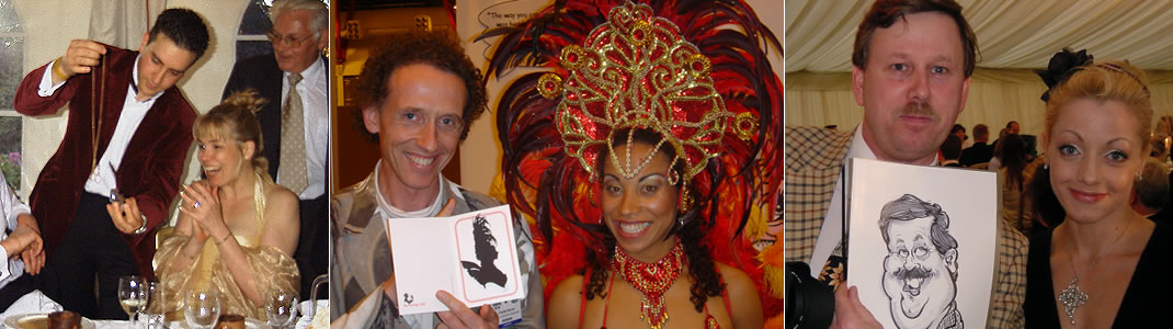 Experienced performers - magician, silhouette cutter and caricaturist